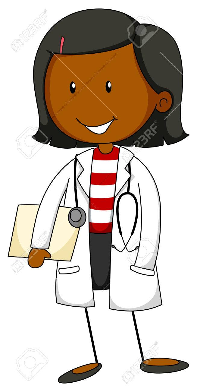 Female doctor in uniform with a stethoscope.