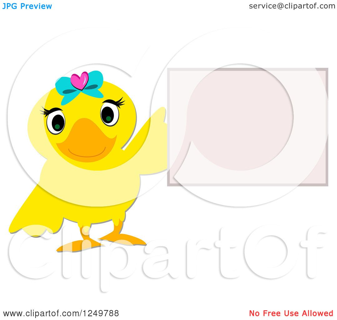 Clipart of a Cute Female Duck Holding up a Sign.