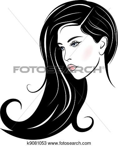 Beautiful Girl Face Clipart.