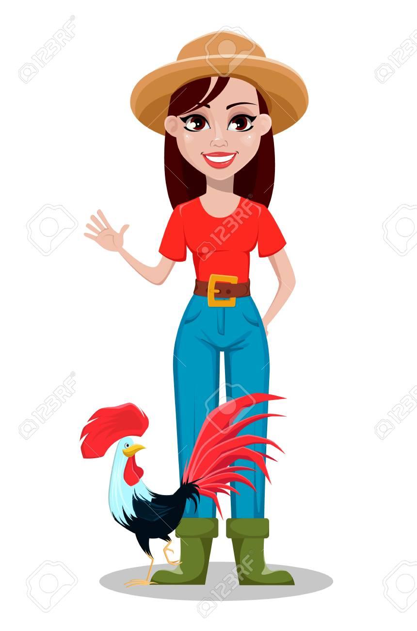 Female farmer cartoon character. Cheerful gardener woman rancher...