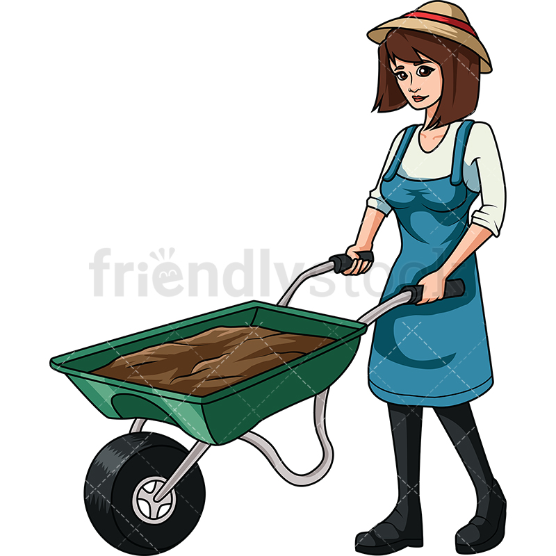 Woman Carrying Dirt With Wheelbarrow.