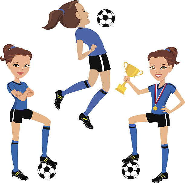 Best Girls Soccer Illustrations, Royalty.
