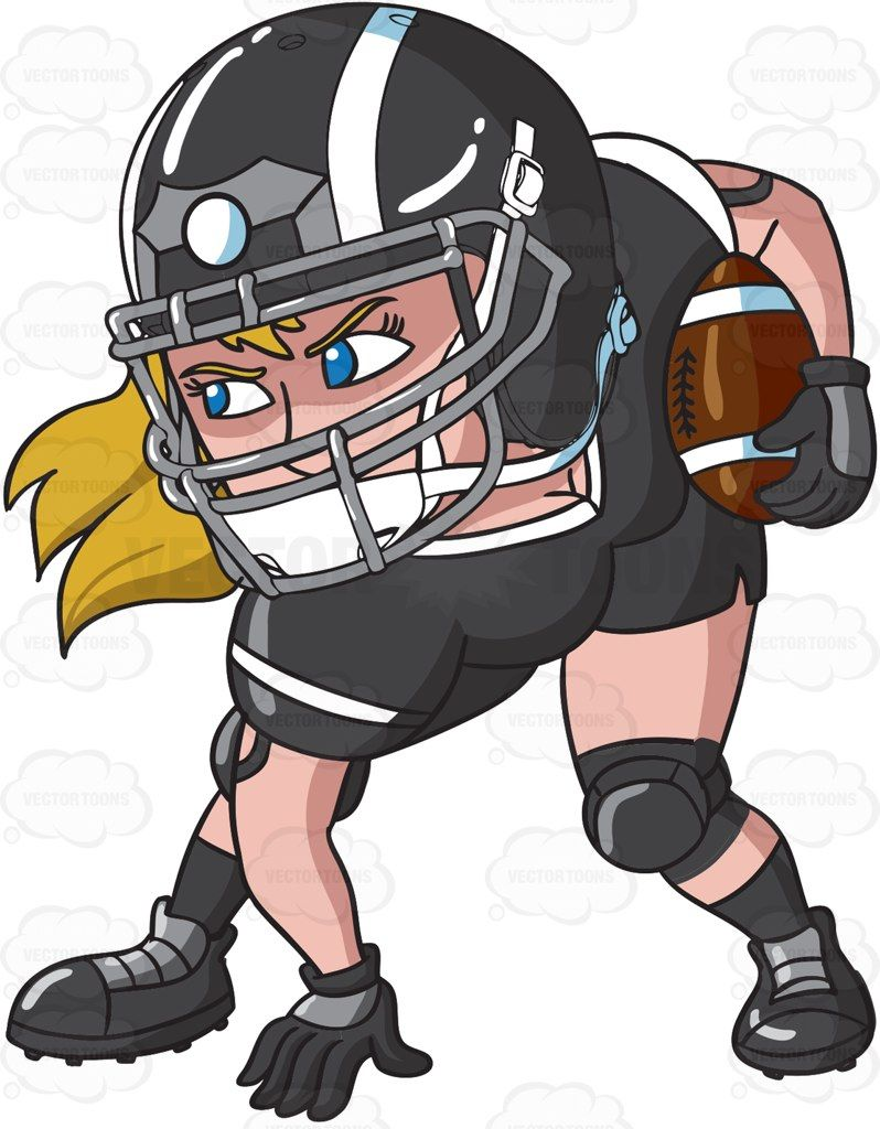 A female football player ready to play #cartoon #clipart.