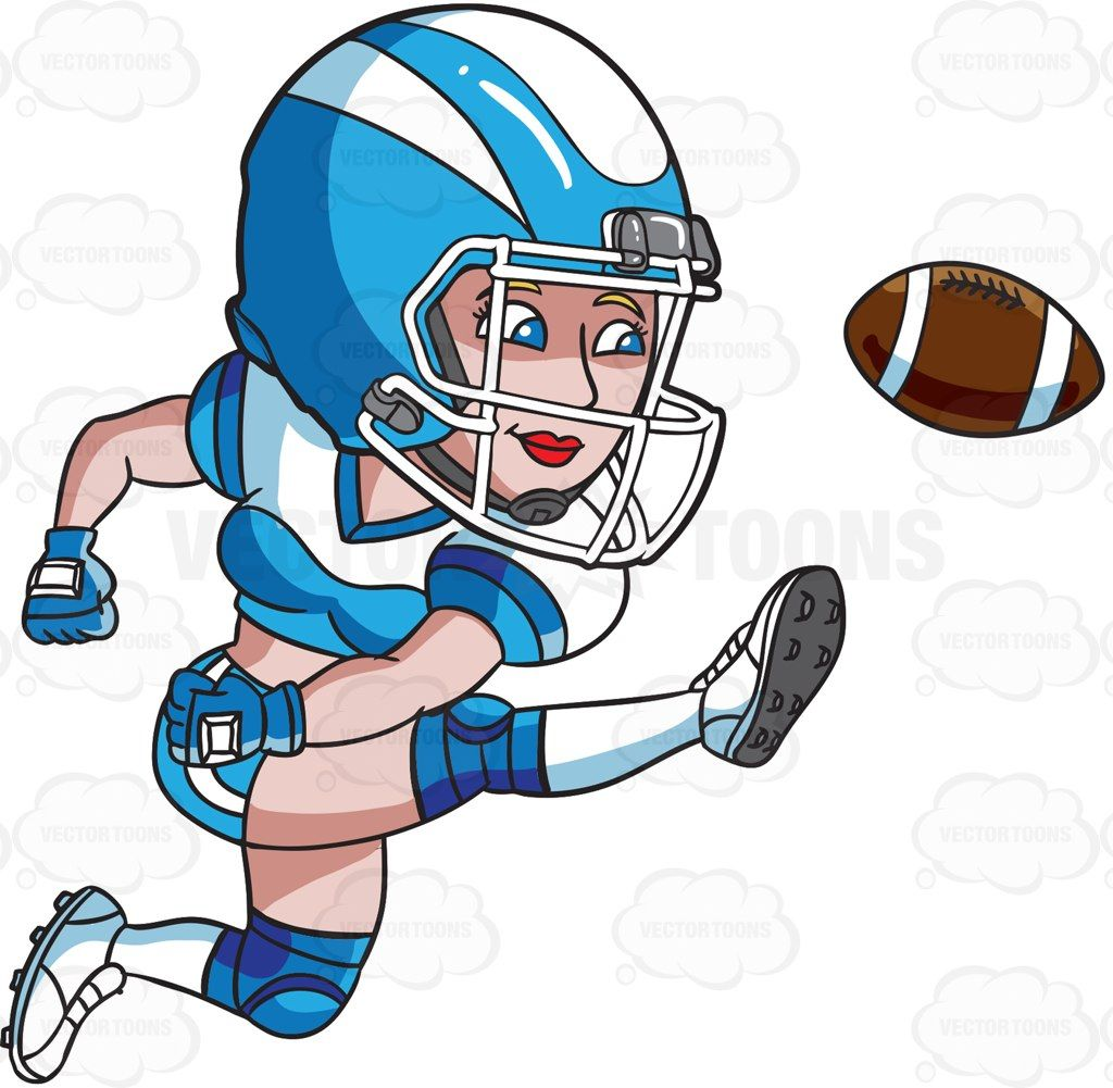A female football player kicking the ball #cartoon #clipart.