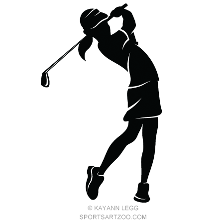 Highlighted silhouette of a girl golfer #SportsArtZoo #golf #girl.