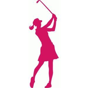 Female golfer silhouette.