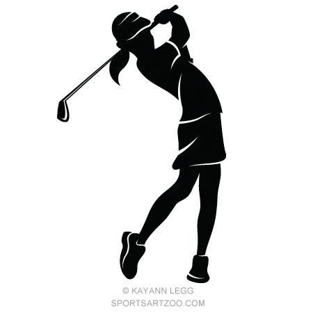 Girl Golfer Silhouette.