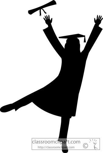 Graduation Graduate Silhouette Cap Gown Classroom Clipart.
