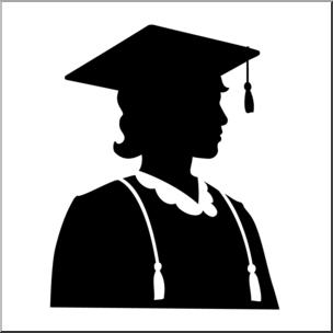 Clip Art: Graduate Female Silhouette B&W I abcteach.com.