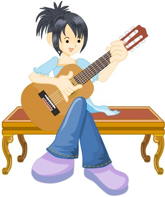 Female guitar player clipart.
