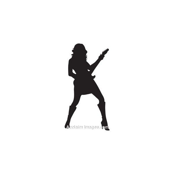Clip Art Of The Silhouette Of A Female Guitar Player found.