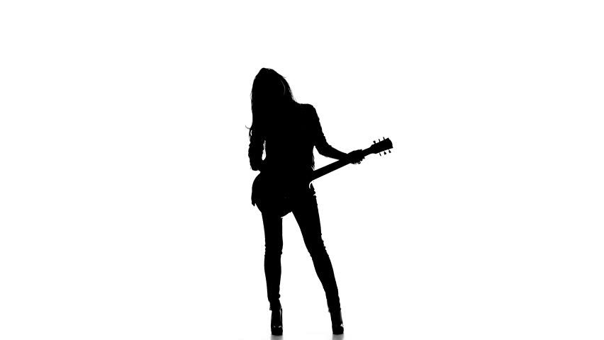 Female Guitar Player Silhouette.