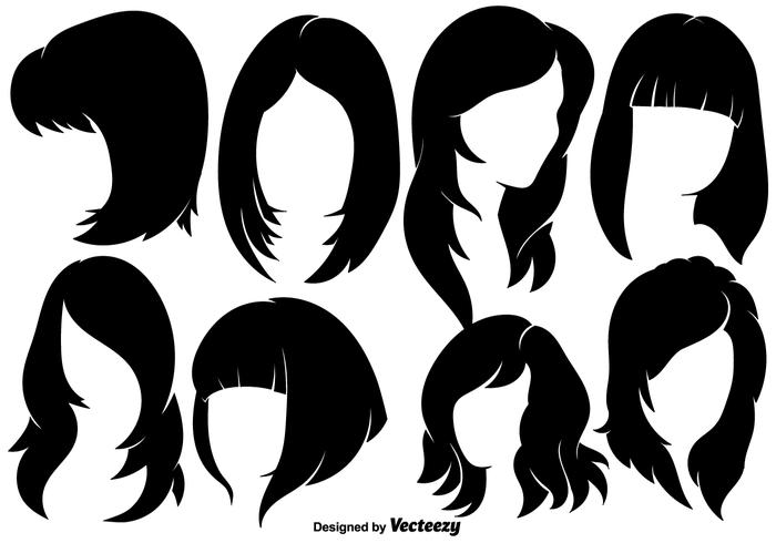 Beautiful Woman With Hairstyles Silhouettes.