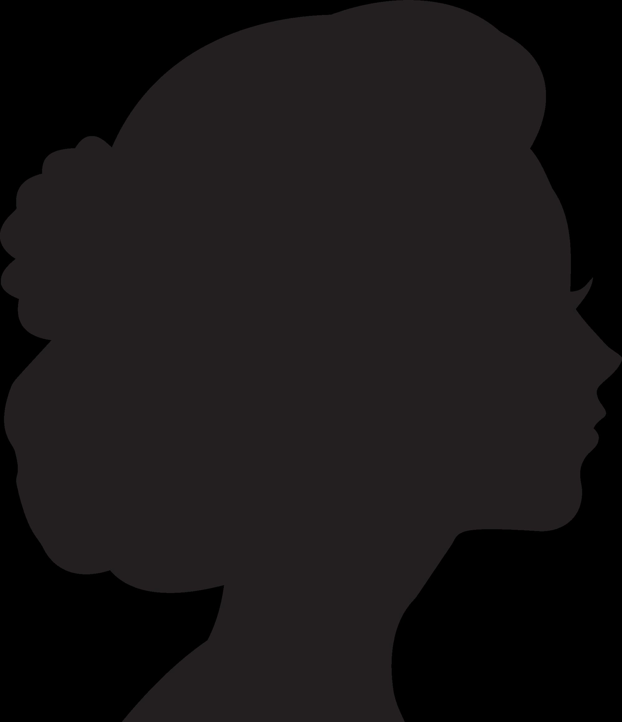 Silhouette Of Female Head.