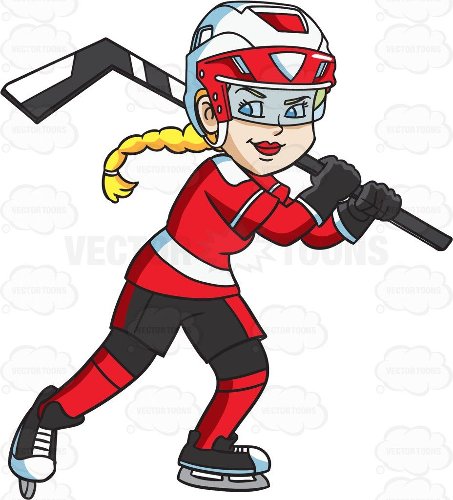 A happy female hockey player #cartoon #clipart #vector #vectortoons.