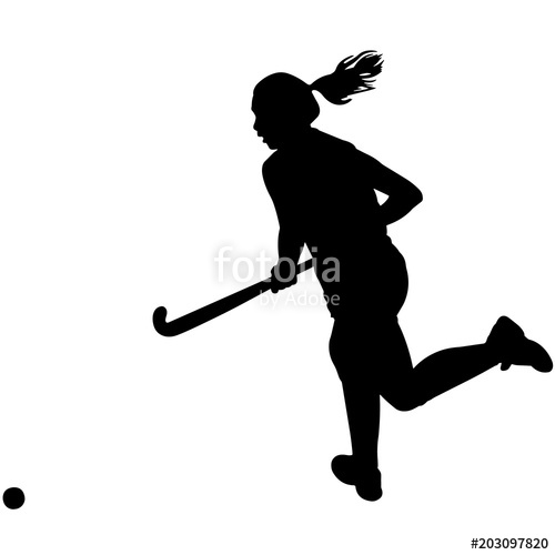 Woman Field hockey Player silhouette, Female Field hockey Player.