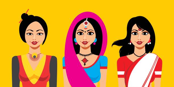 Best Indian Woman Illustrations, Royalty.