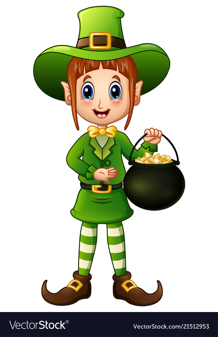 Cartoon girl leprechaun holding a pot of gold.