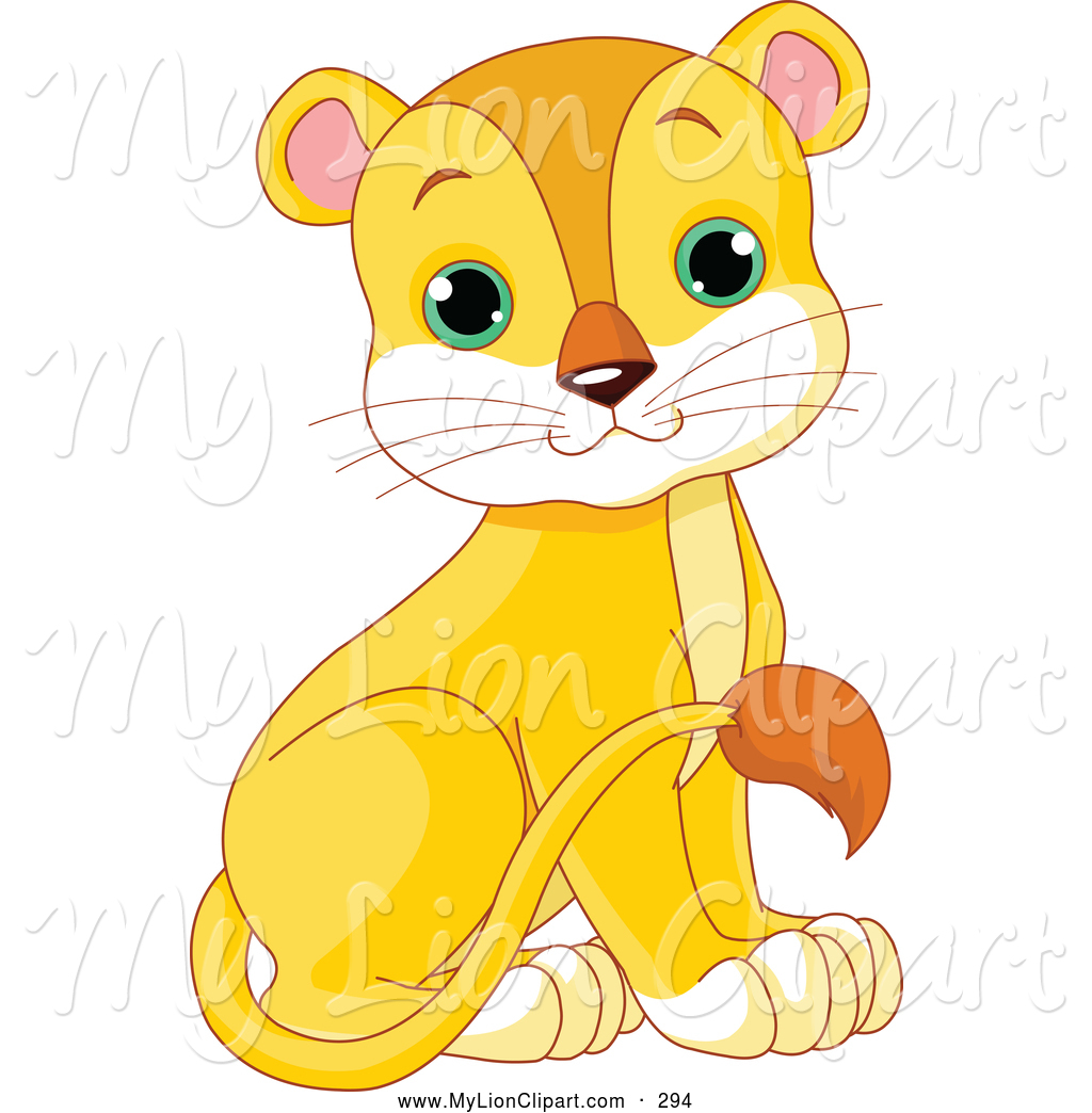 Clipart of a Cute Baby Female Lion Looking Forward by Pushkin.