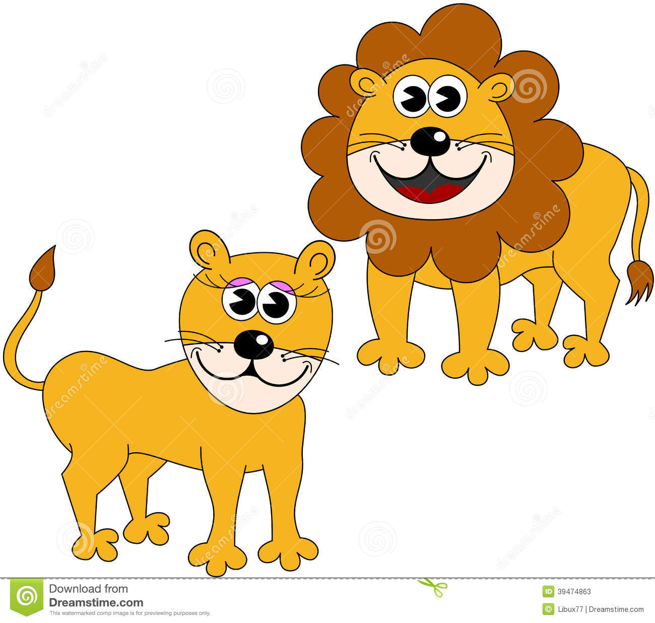 Lion and Lioness Clip Art.
