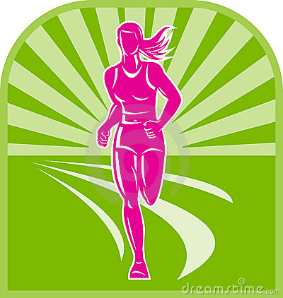 Illustration of a female marathon runner front view with sunburst.