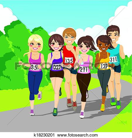 Clipart of Marathon Running Competition k18230201.