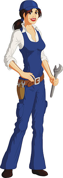 Clip Art Of A Female Mechanic Work Pictures, Images and Stock.