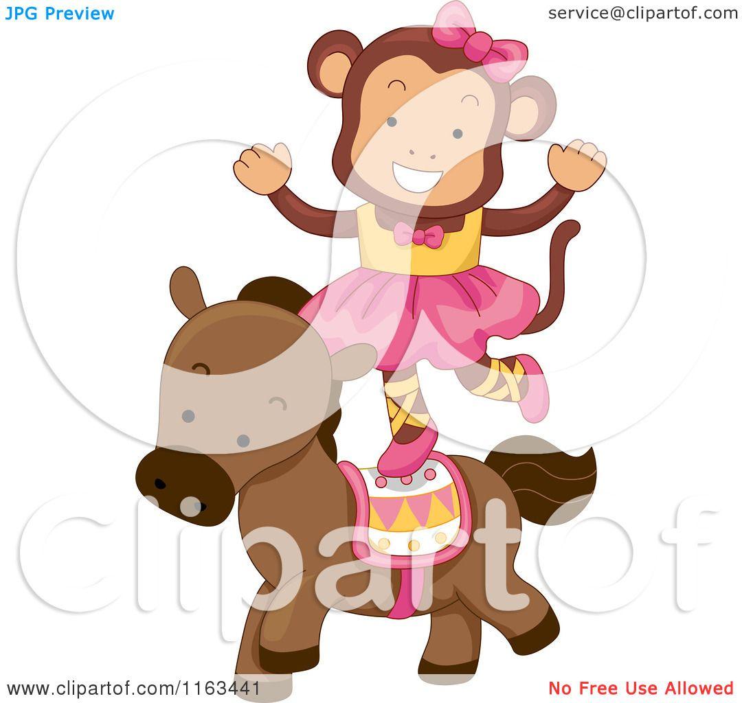 Cartoon of a Female Circus Monkey Balancing on a Horse.