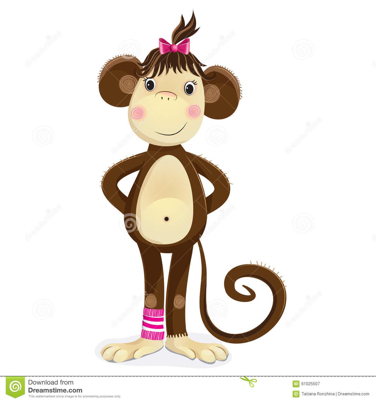 Cartoon Illustration Of Monkey Female. Stock Vector.