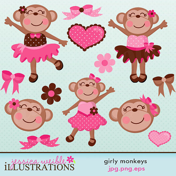 Girly Monkeys Cute Digital Clipart.