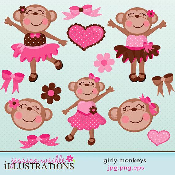 Girly Monkeys Cute Digital Clipart.