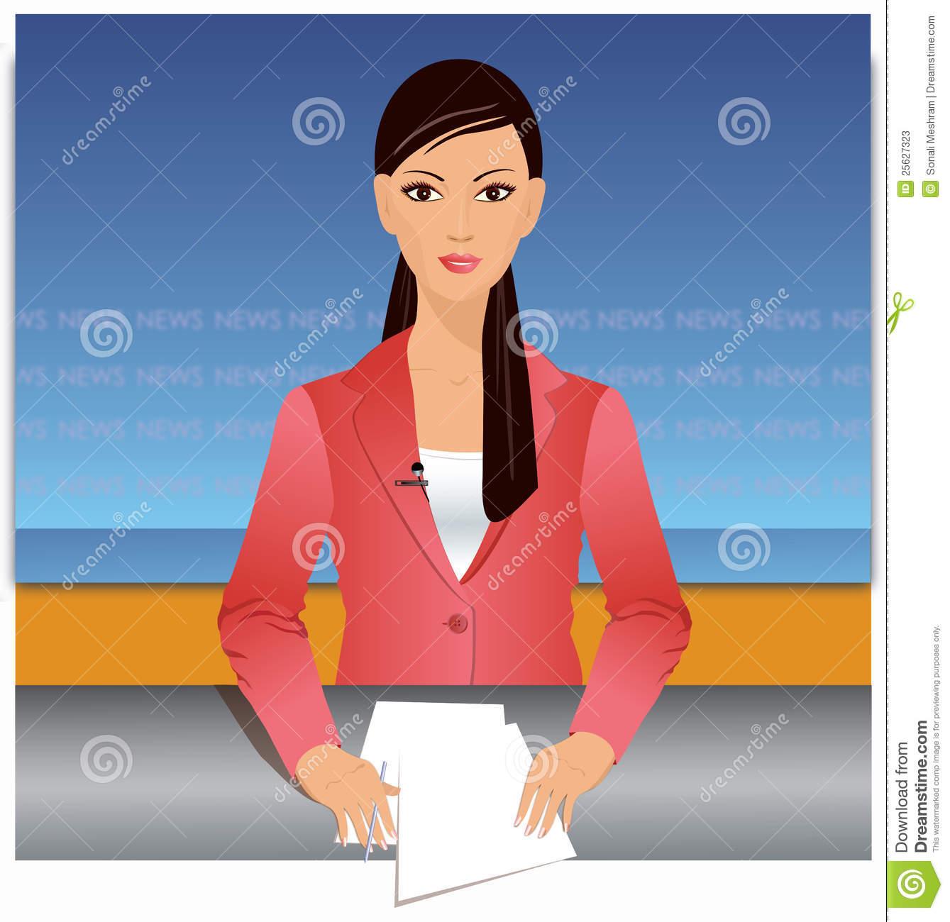 Female News Reporter Clipart.