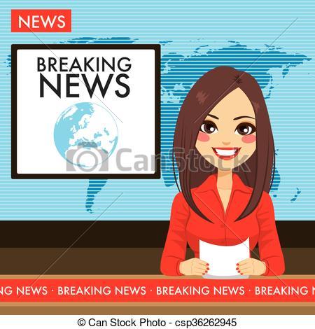 Vector of News Reporter Anchor Woman Newsroom.