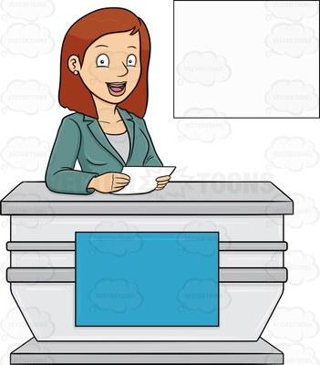 female reporter Cartoon Clipart.