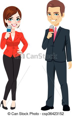 Clipart Vector of Male Female News Reporter.