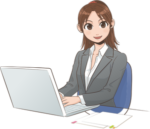 4666 female office worker clipart.