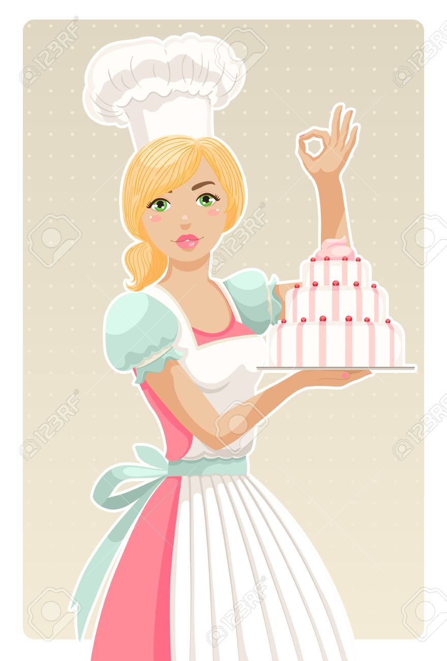 Girl pastry chef clipart brown hair.