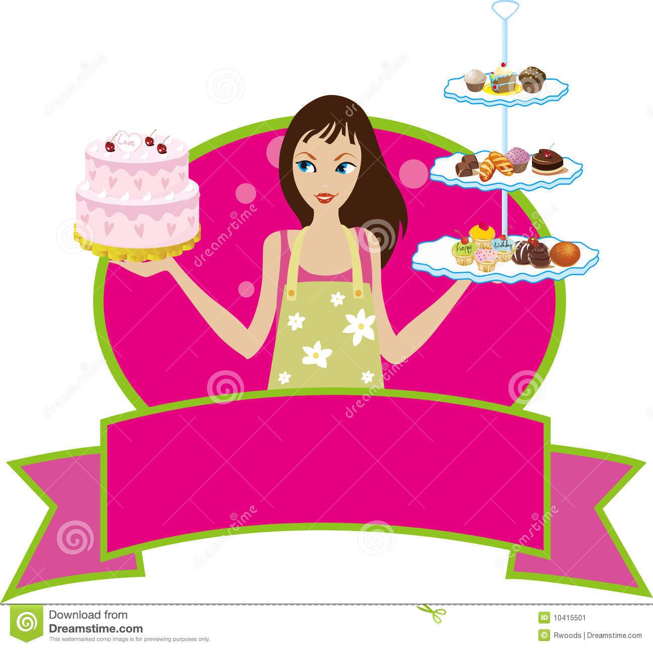Bakery Baker Pastry Chef Girl Woman Diva Stock Vector.