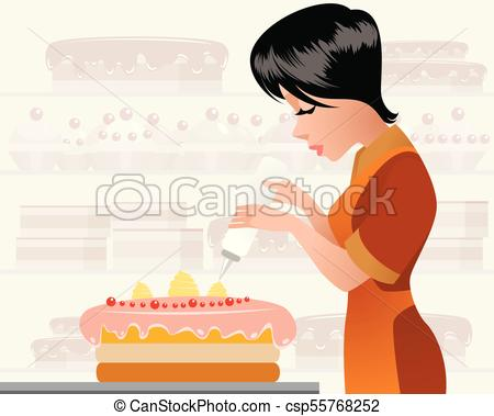 Pastry chef decorating a cake.