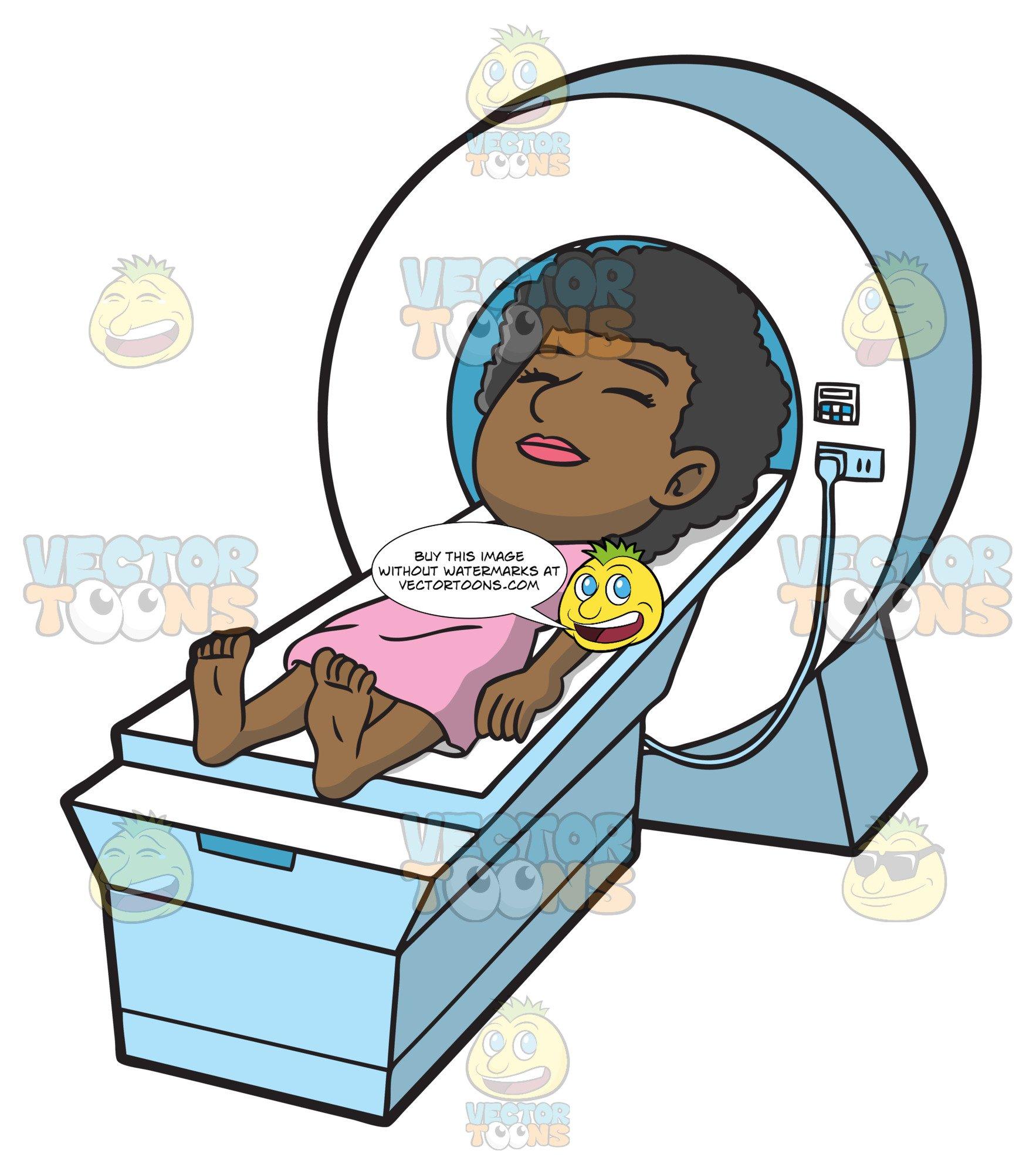 A Female Patient Undergoing An Mri Scan.