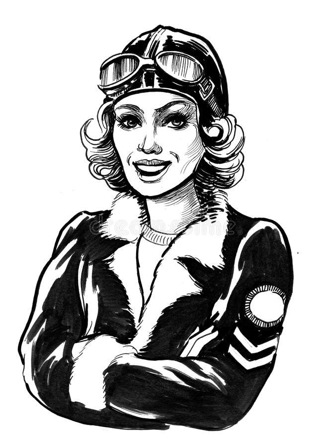 Female Pilot Stock Illustrations.