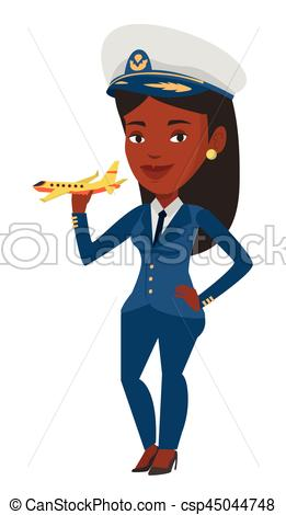 Cheerful airline pilot with model of airplane..