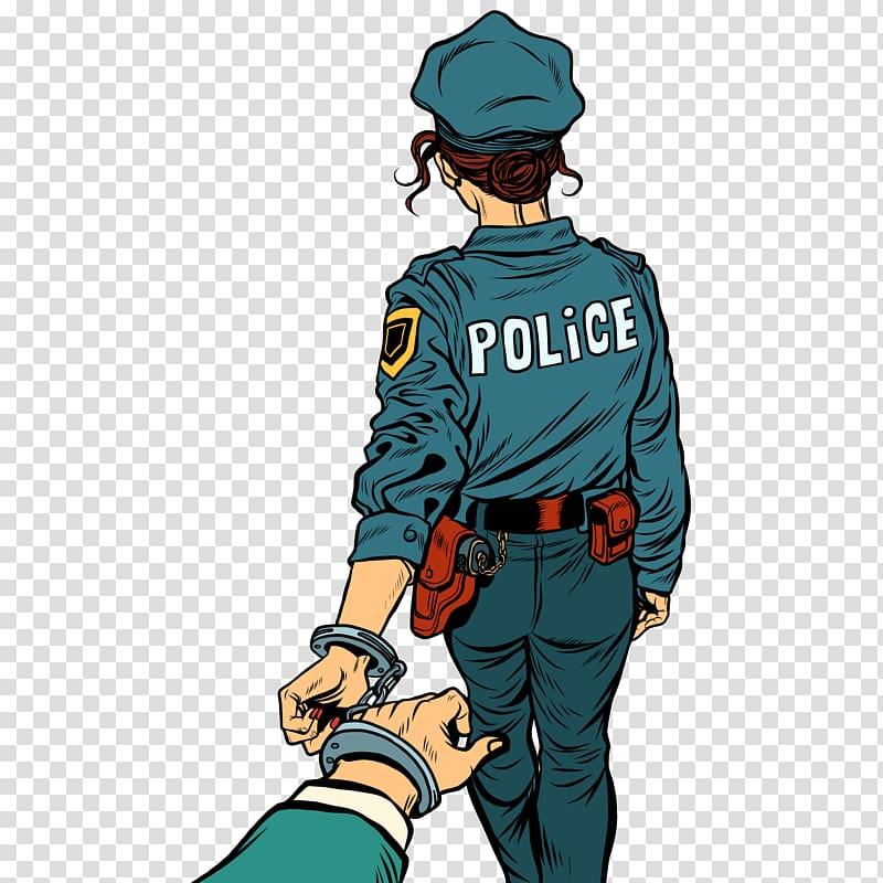 Police woman illustration, Police officer Arrest , Female.