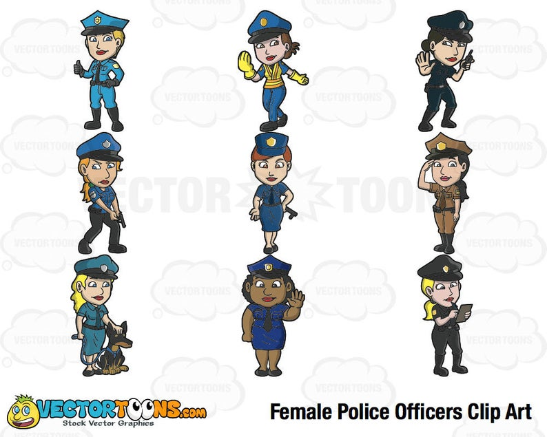 Female Police Officers Clip Art, Digital Clipart, Digital Graphics.