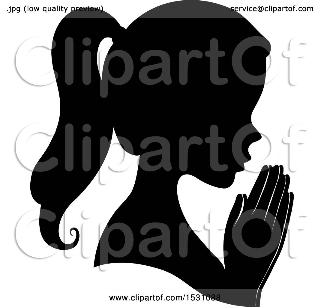 Clipart of a Silhouette Female Profile with Praying Hands.