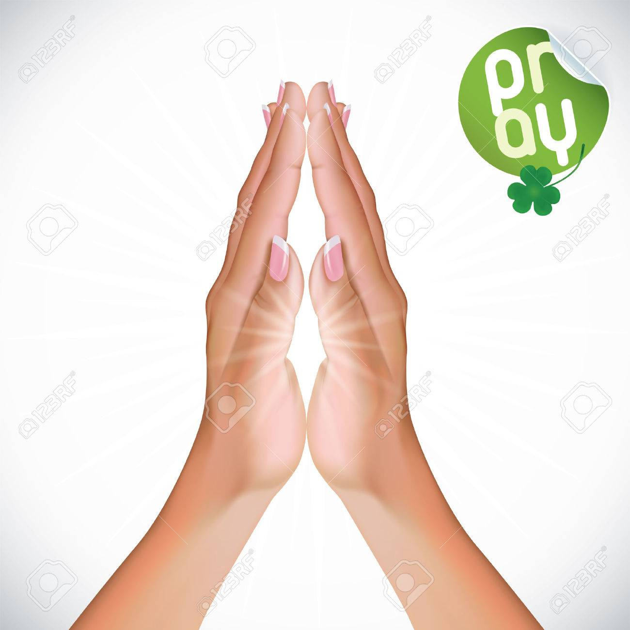 Vector Female Praying Hands Illustration.