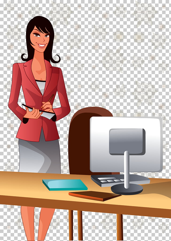 Cartoon Illustration, business woman president PNG clipart.