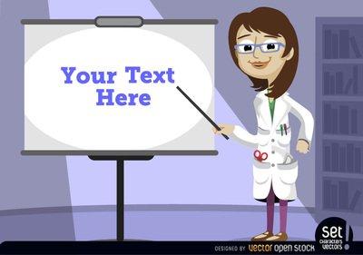 Female professor pointing presentation screen, Vector Image.