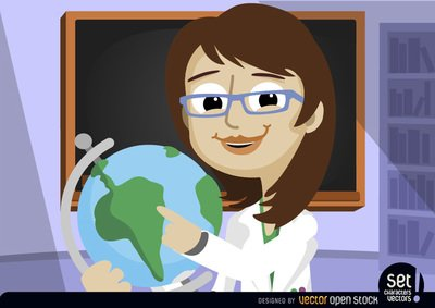 Female professor pointing at world globe, Vector Files.