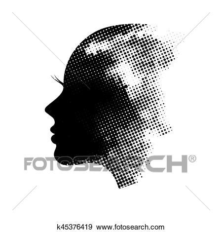 Female profile silhouette Clip Art.